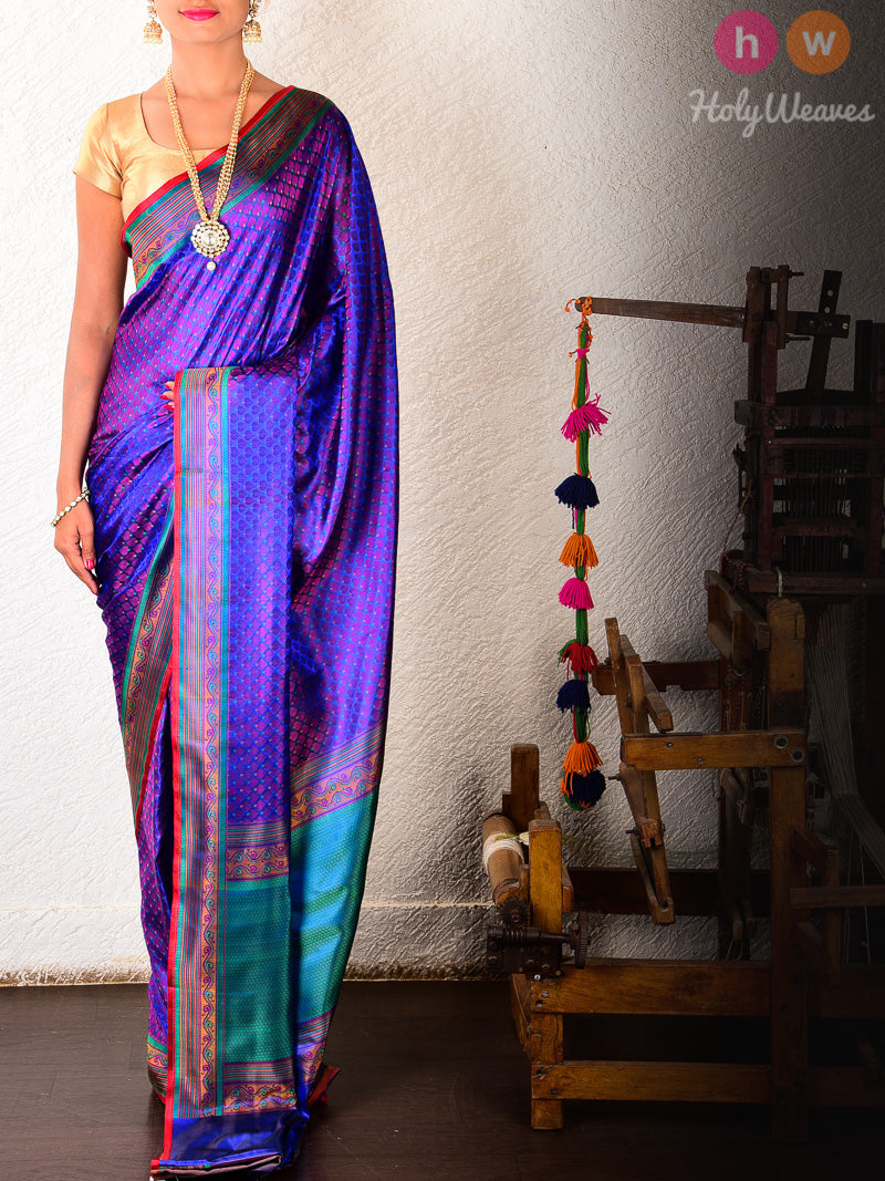 Blue Silk Dhoop-Chhanv Jamawar Brocade Handwoven Saree - HolyWeaves
