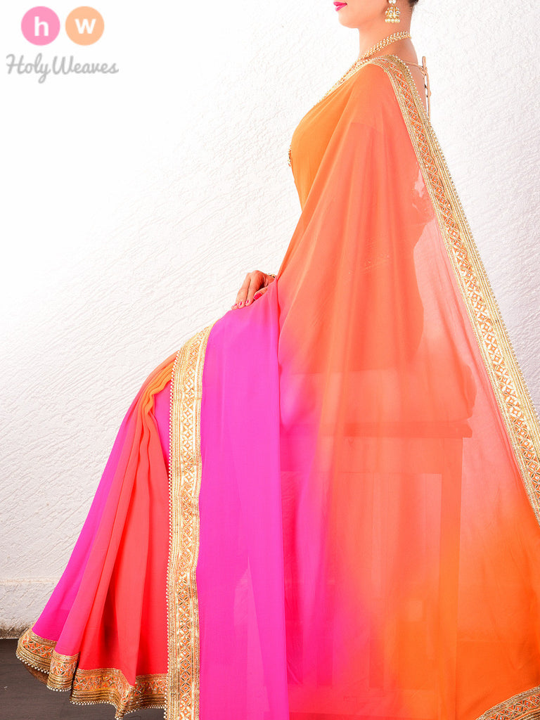 Orange-Pink Georgette  Embroidered Saree - HolyWeaves