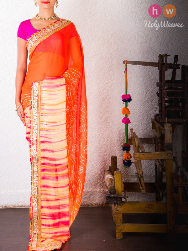 Orange Bandhani Georgette Saree - HolyWeaves