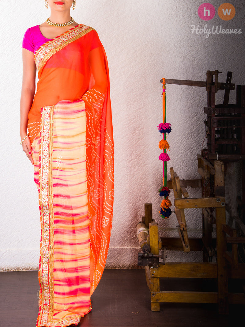 Orange Chiffon  Bandhani Saree- HolyWeaves