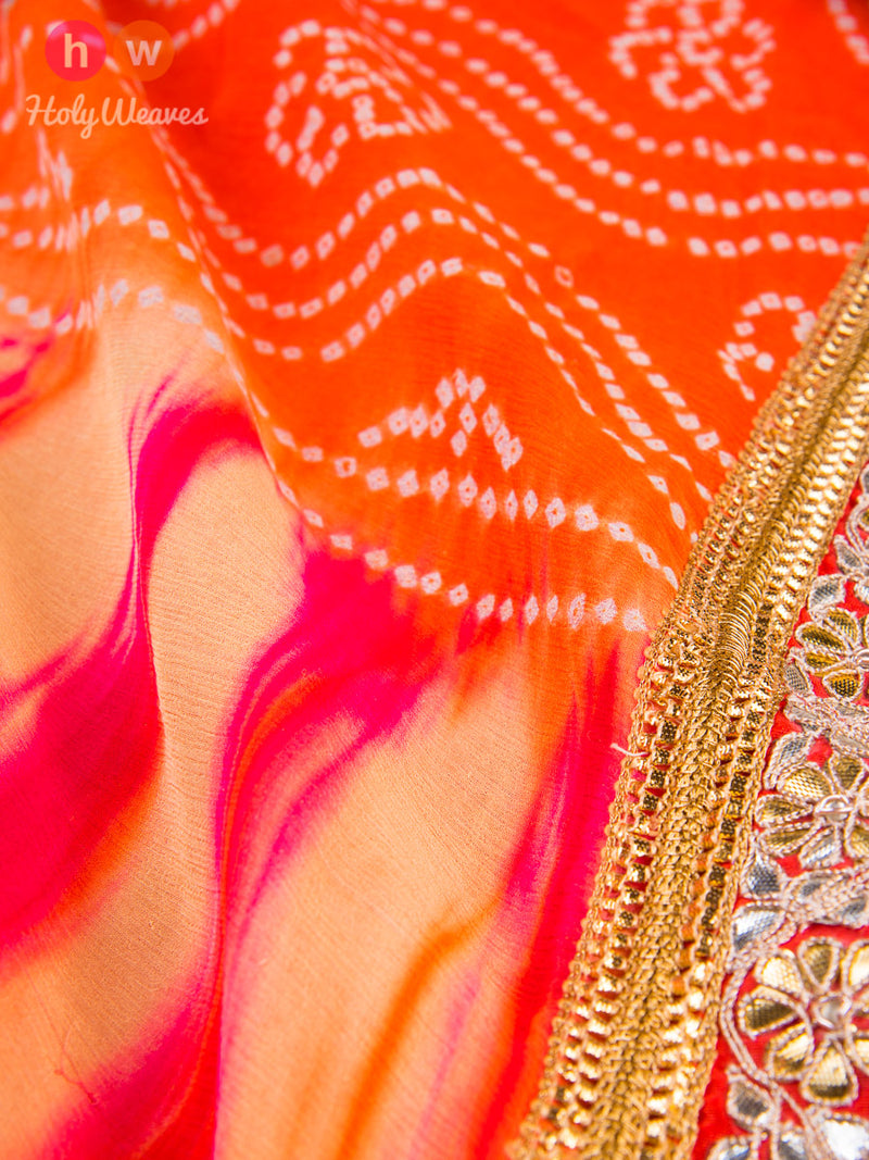 Orange Bandhani Georgette Saree- HolyWeaves