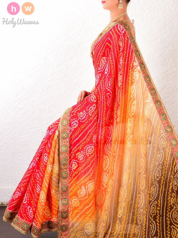 Beige-Red Leheriya Georgette Bandhani Saree- HolyWeaves