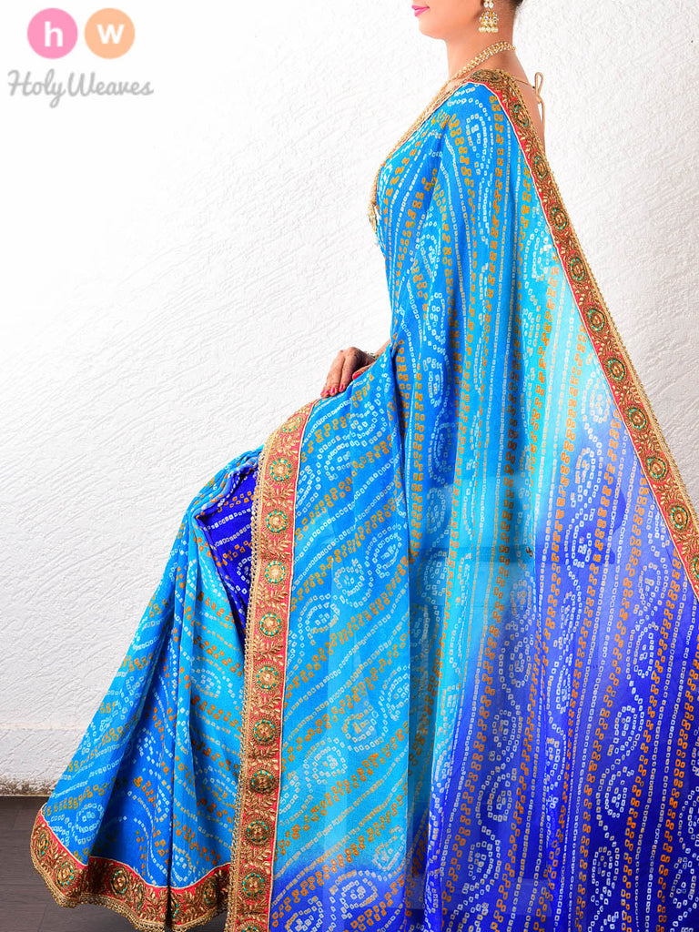 Blue Leheriya Georgette Bandhani Saree - HolyWeaves