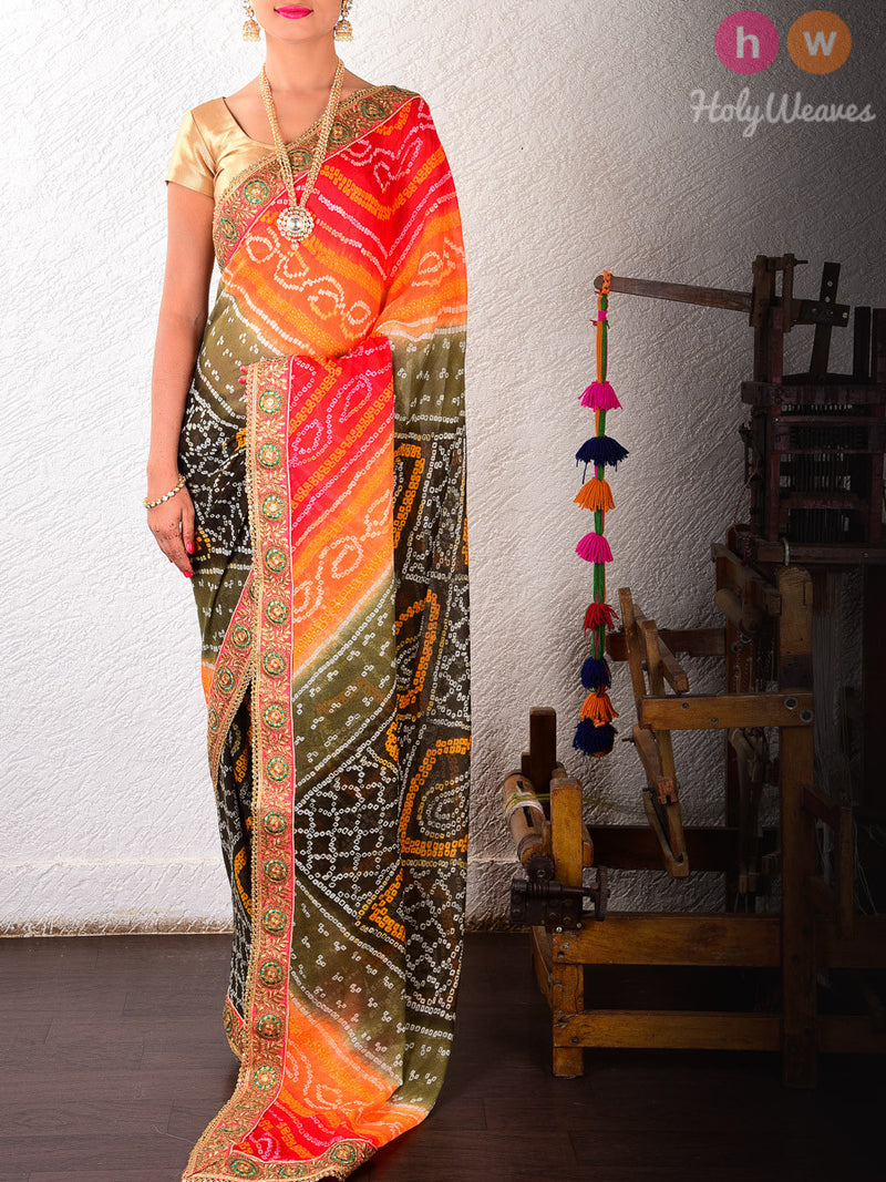 Orange-Black Georgette  Bandhani Saree - HolyWeaves