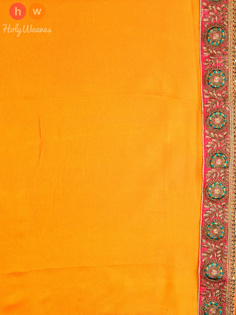 Orange-Red Georgette  Bandhani Saree- HolyWeaves