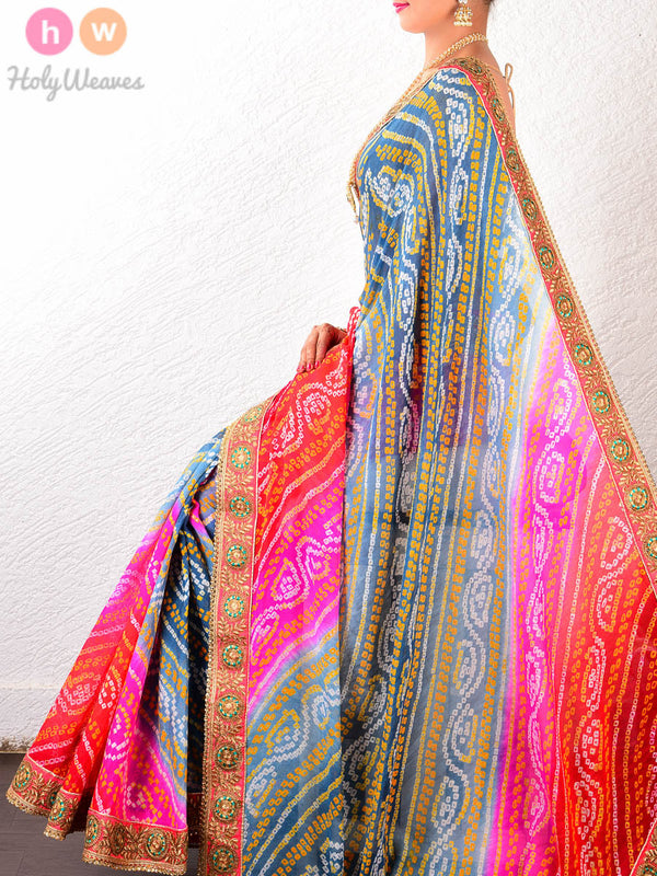 Red-Grey Georgette Leheriya Bandhani Saree- HolyWeaves