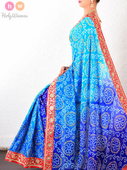 Blue Georgette  Bandhani Saree - HolyWeaves