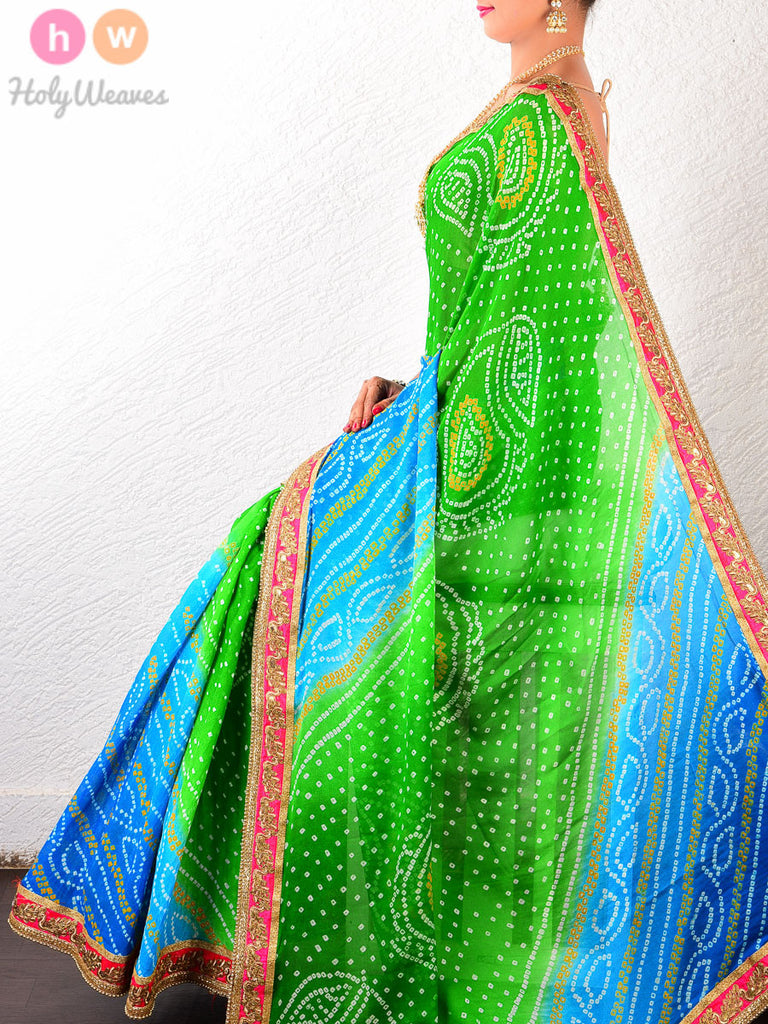 Green-Blue Georgette  Bandhani Saree - HolyWeaves