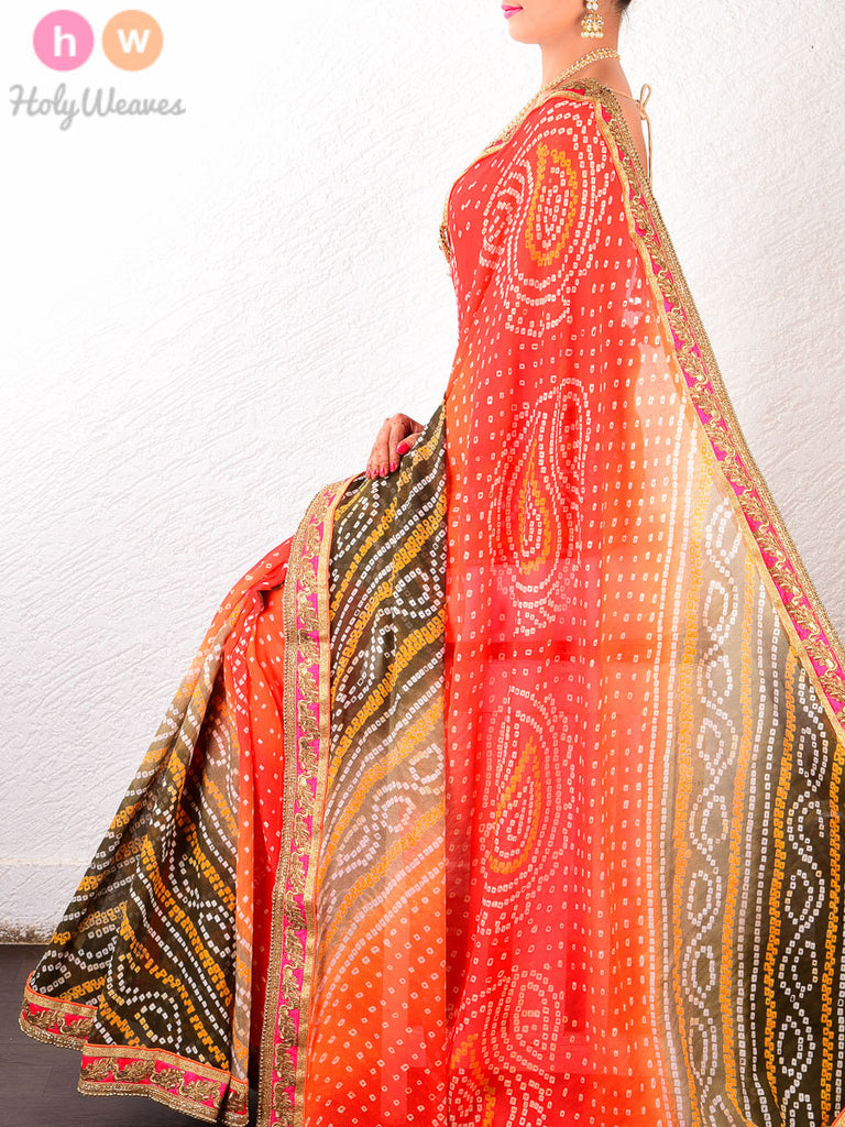 Orange Georgette  Bandhani Saree