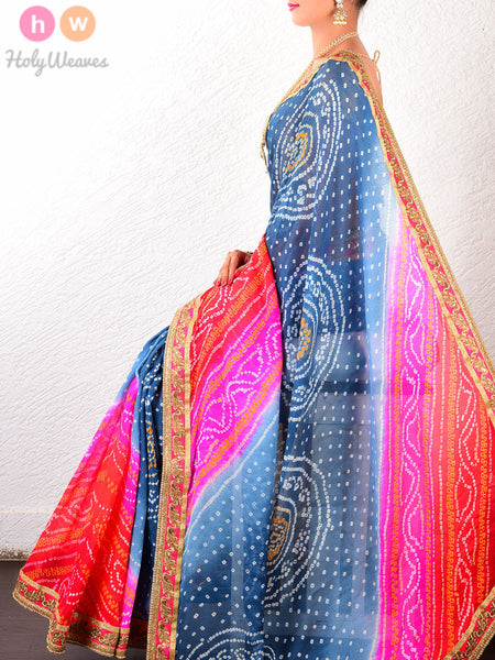 Red-Gray Georgette  Bandhani Saree - HolyWeaves