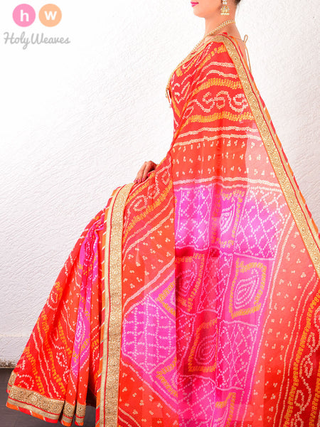 Orange-Pink Georgette  Bandhani Saree - HolyWeaves