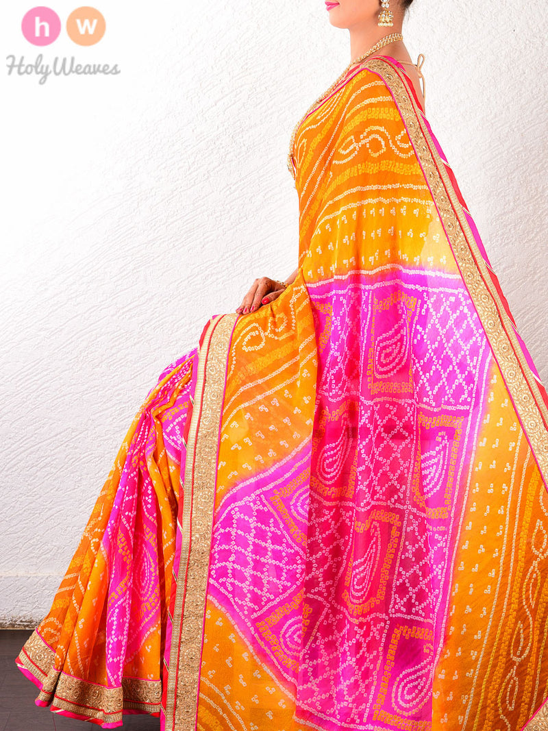 Orange- Pink Georgette  Bandhani Saree - HolyWeaves