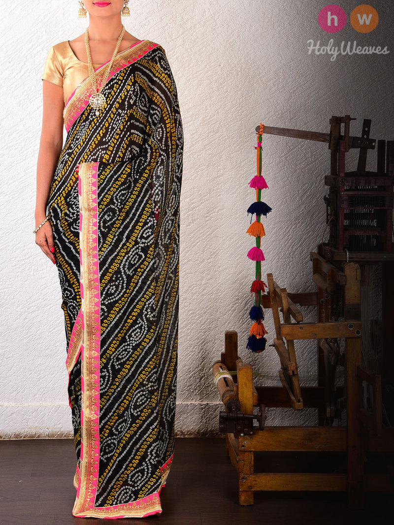 Black Leheriya Georgette Bandhani Saree - HolyWeaves