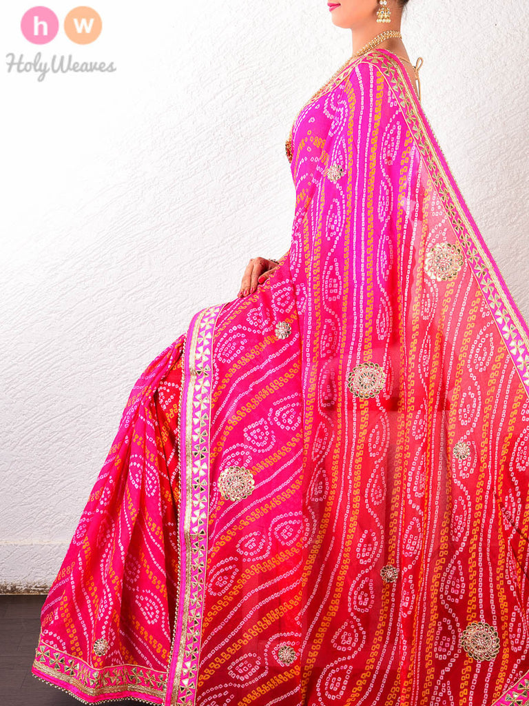 Red-Pink Georgette  Bandhani Saree - HolyWeaves