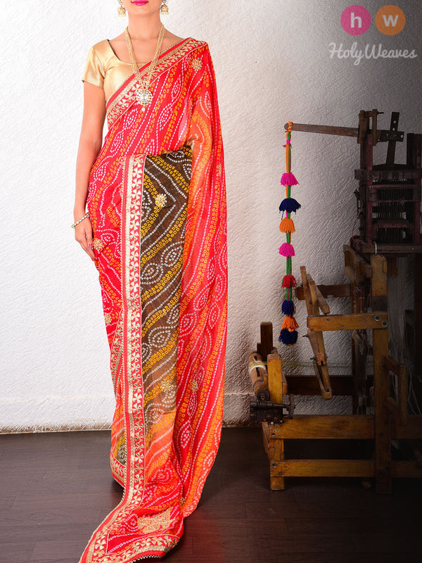 Red-Black Georgette  Bandhani Saree- HolyWeaves
