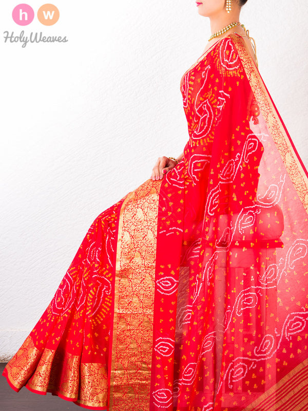 Orange Georgette Bandhani Saree - HolyWeaves