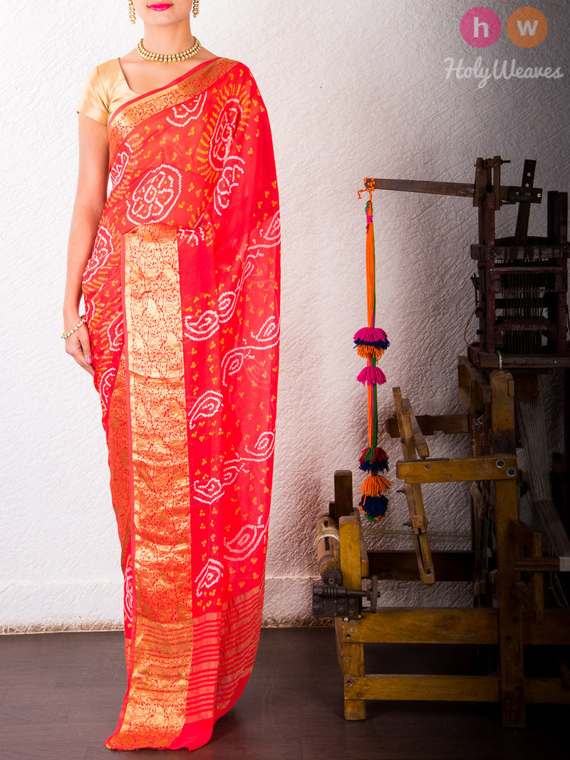 Red Georgette  Bandhani Saree - HolyWeaves