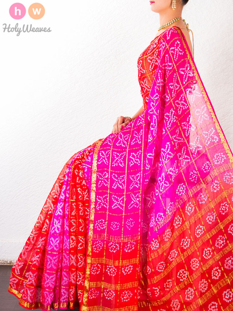 Pink-Red Khaddi Georgette Bandhani Saree - HolyWeaves