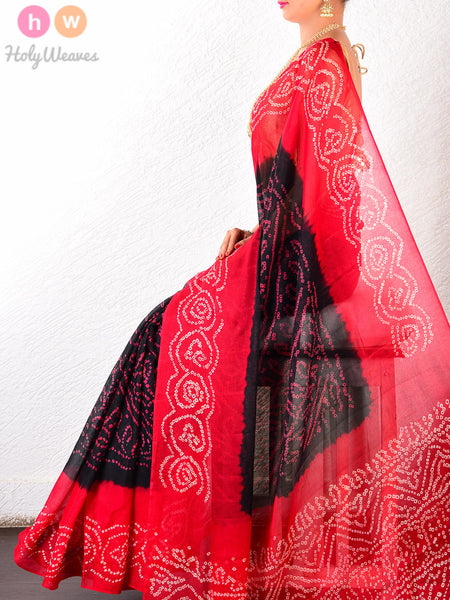 Black Georgette  Bandhani Saree - HolyWeaves