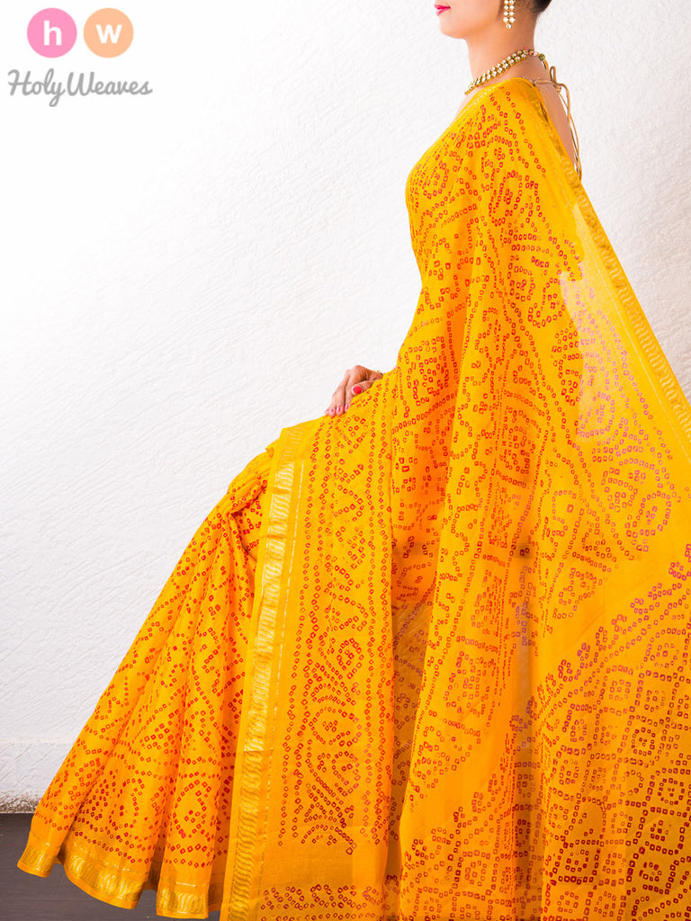 Yellow Georgette  Bandhani Saree - HolyWeaves