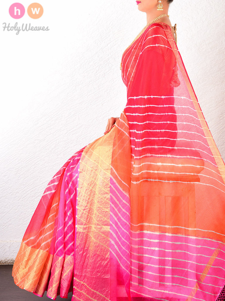 Multi-color Kota Silk  Bandhani Saree - HolyWeaves