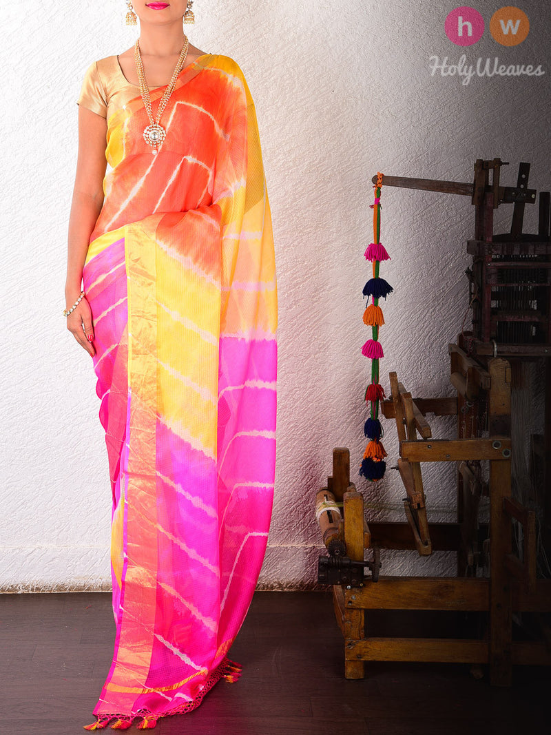 Yellow-Orange Kota Silk  Bandhani Saree - HolyWeaves