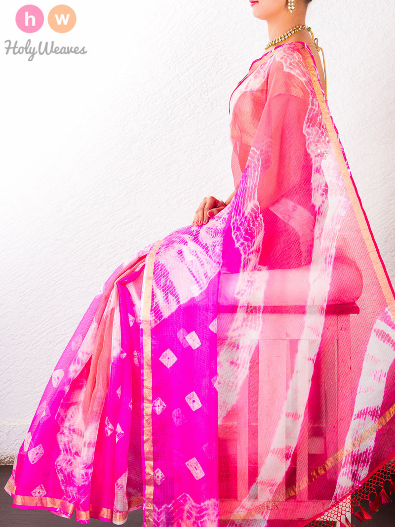 Peach-Pink Kota Silk  Bandhani Saree - HolyWeaves