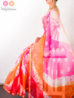 Pink-Orange Kota Silk  Bandhani Saree - HolyWeaves