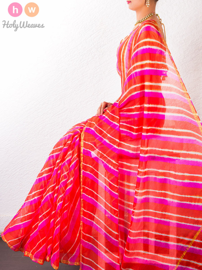 Orange Kota Silk  Bandhani Saree - HolyWeaves