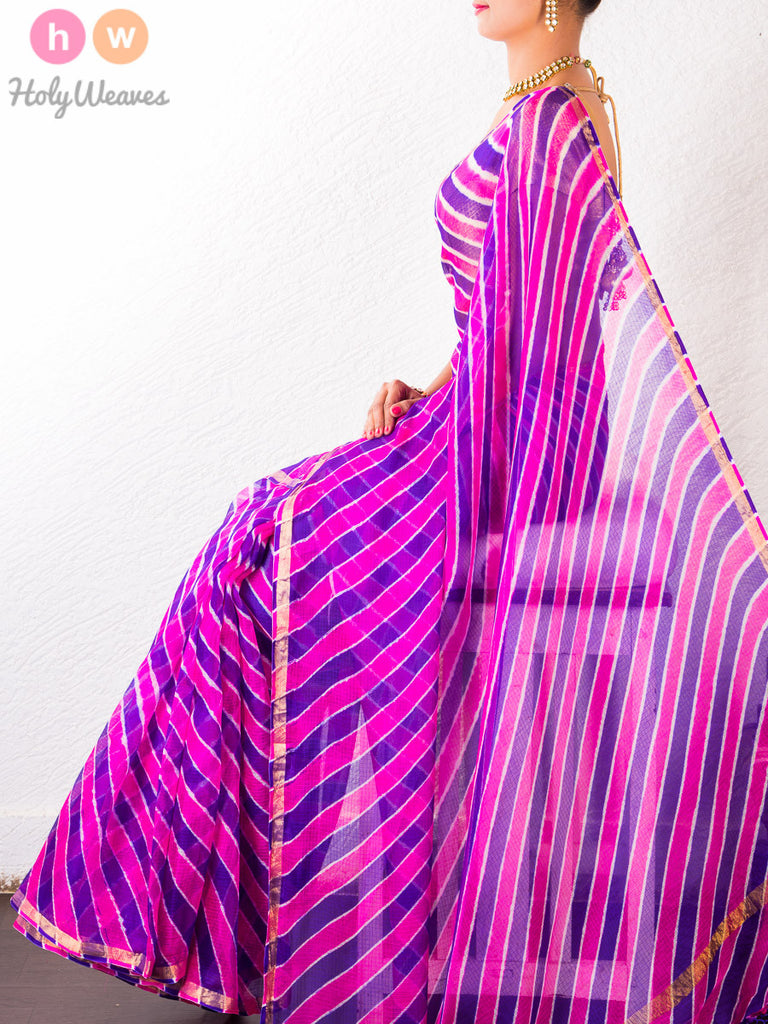 Pink-Purple Kota Silk  Bandhani Saree - HolyWeaves