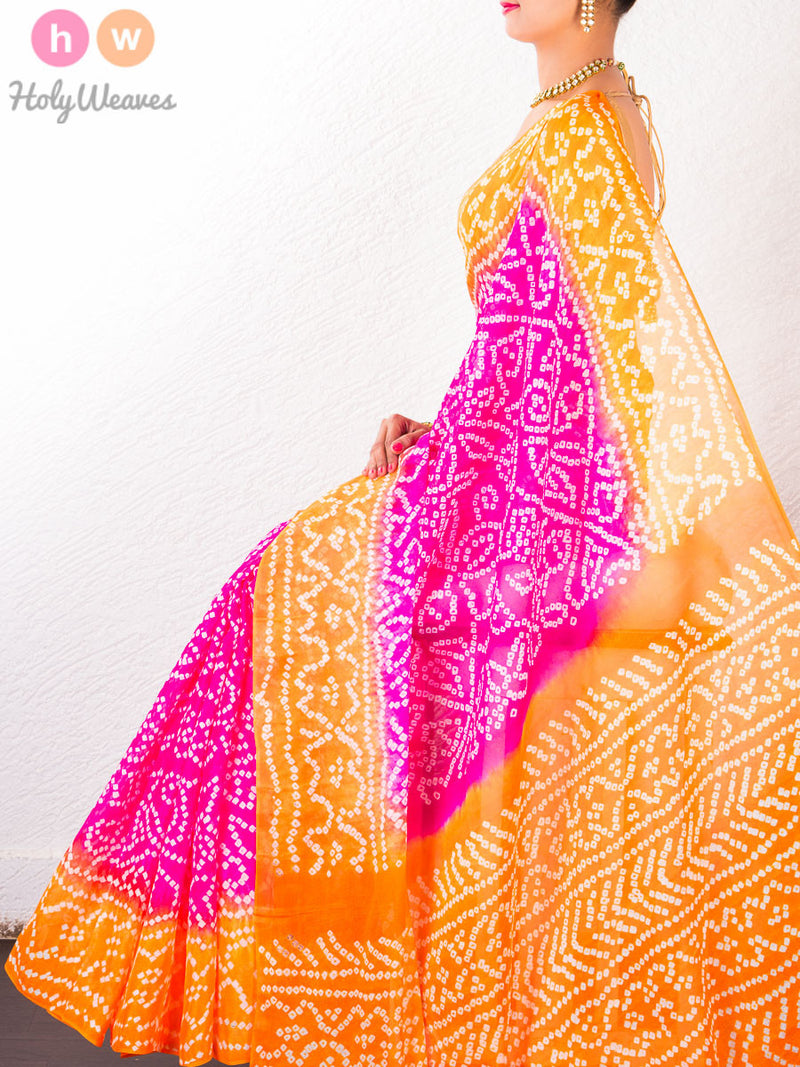 Pink-Orange Georgette  Bandhani Saree - HolyWeaves