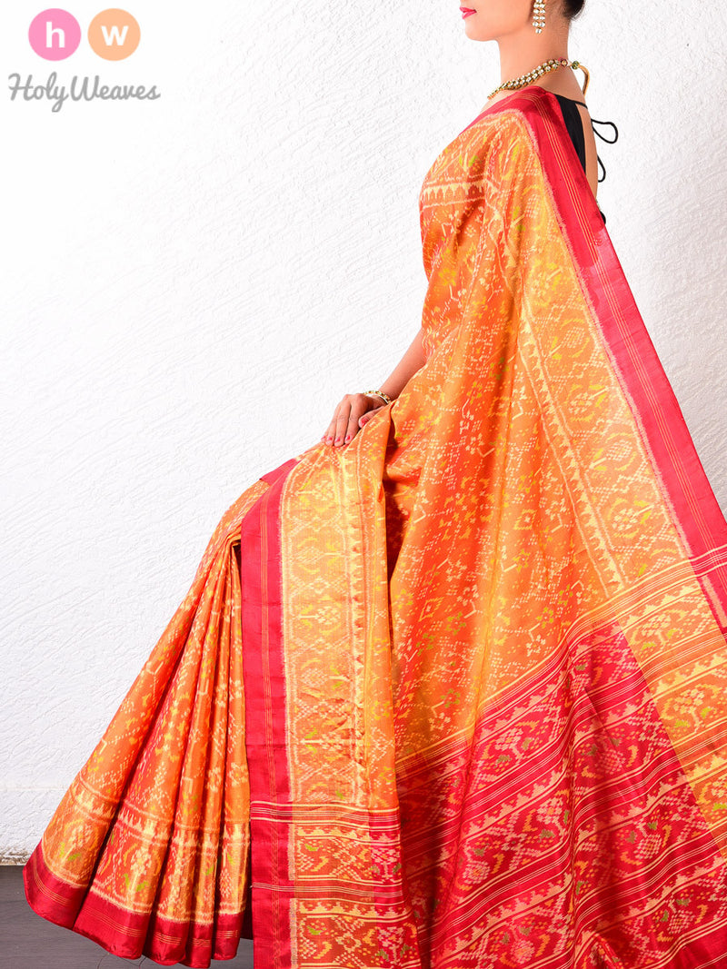 Mustard Yellow and Red Silk Traditional Patola Handwoven Saree - HolyWeaves