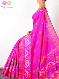 Pink Patola Handwoven Silk Saree - HolyWeaves