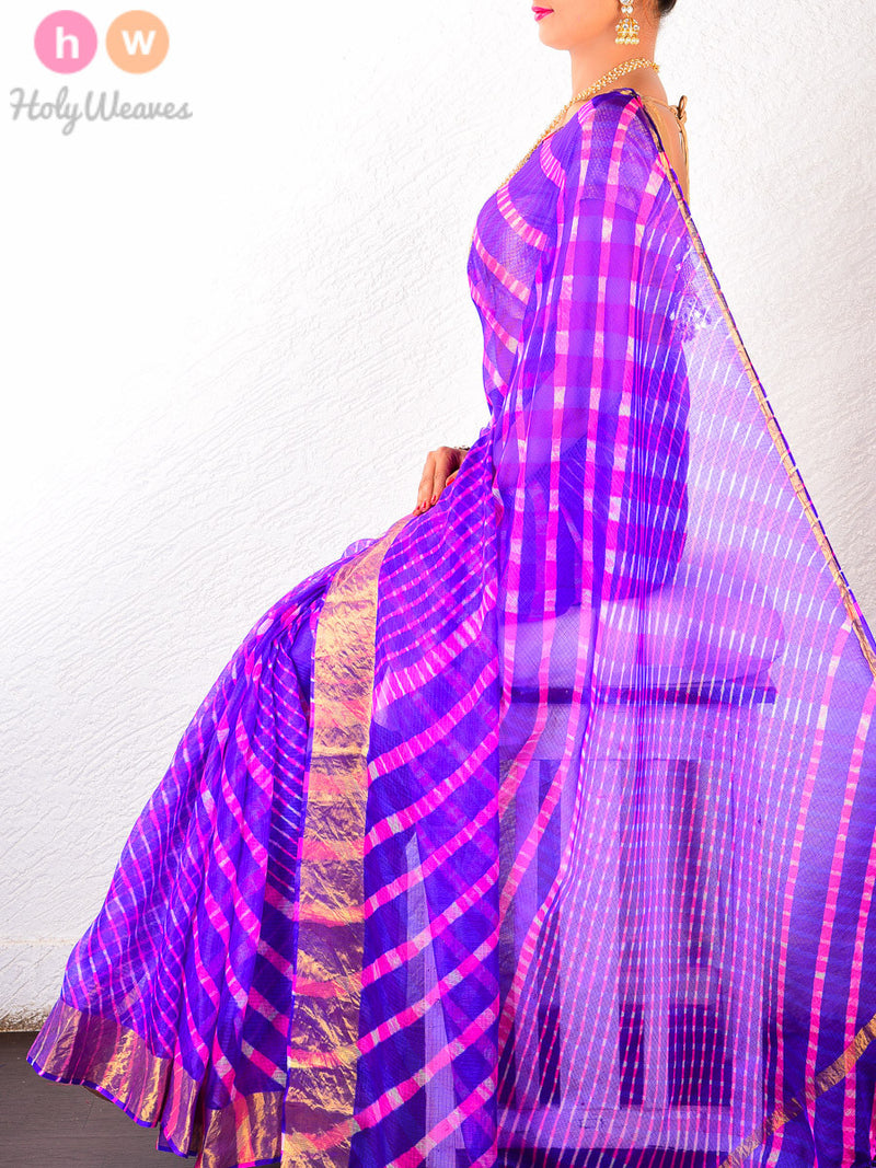 Purple Kota Silk  Bandhani Saree - HolyWeaves