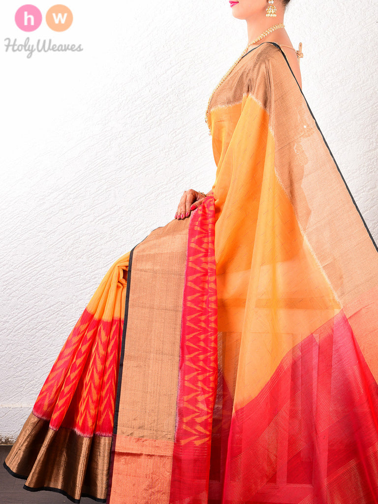Mustard & Red Cotton Silk Ikat Handwoven Saree - HolyWeaves