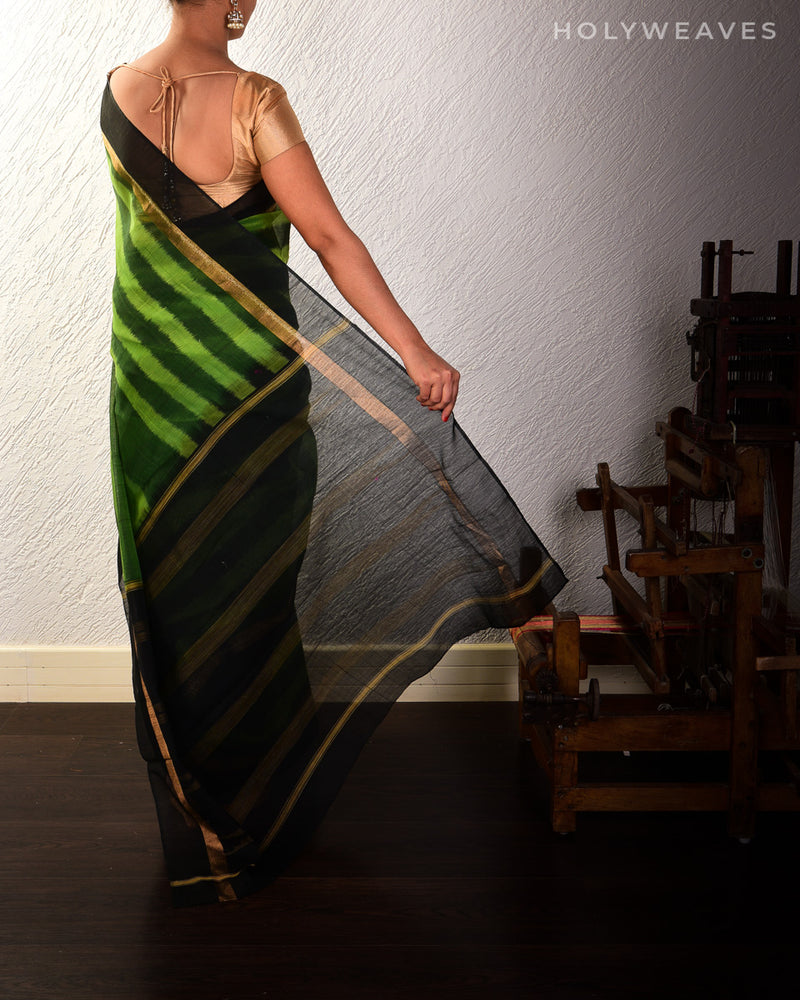 Green Cotton Silk Ikat Handwoven Saree - HolyWeaves