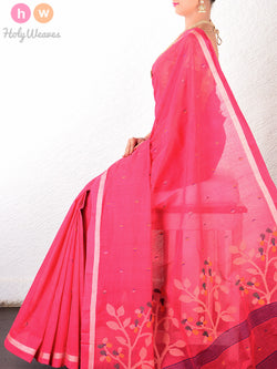 Pink Cotton Silk Kadhuan (कढ़ुआँ) Brocade Woven Saree- HolyWeaves