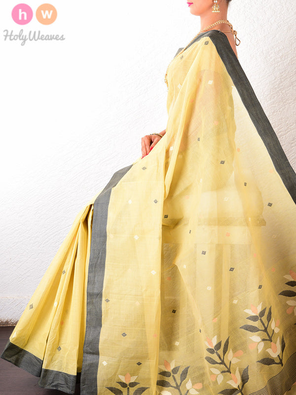 Beige Cotton Silk Kadhuan (कढ़ुआँ) Brocade Woven Saree- HolyWeaves
