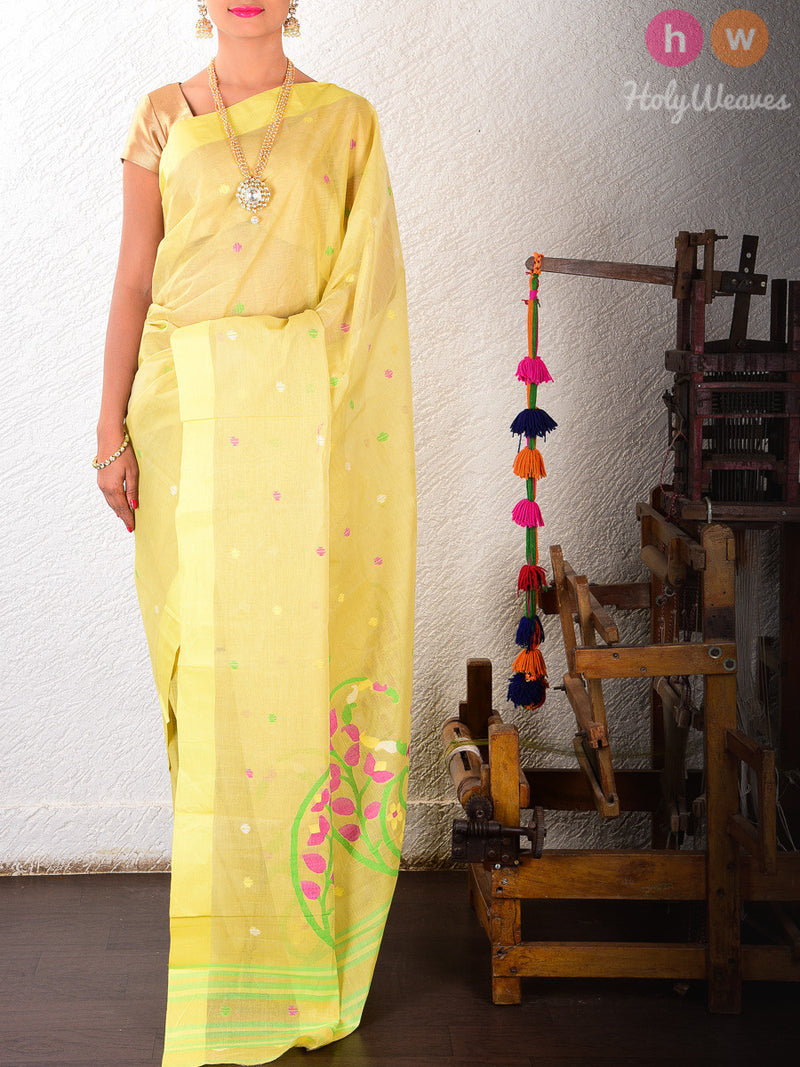 Yellow Cotton Silk Kadhuan (कढ़ुआँ) Brocade Woven Saree - HolyWeaves