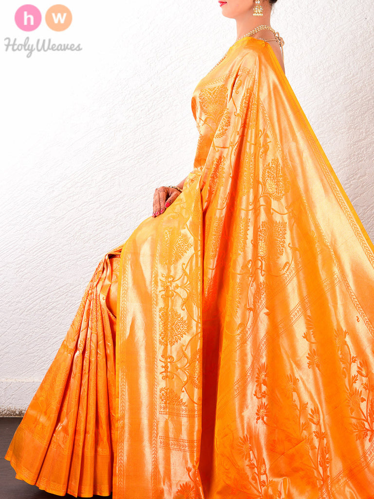 Orange Katan Silk Kanjivaram Brocade Handwoven Saree