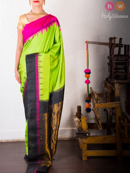 Green Katan Silk Brocade Handwoven Gadwal Saree - HolyWeaves - 2