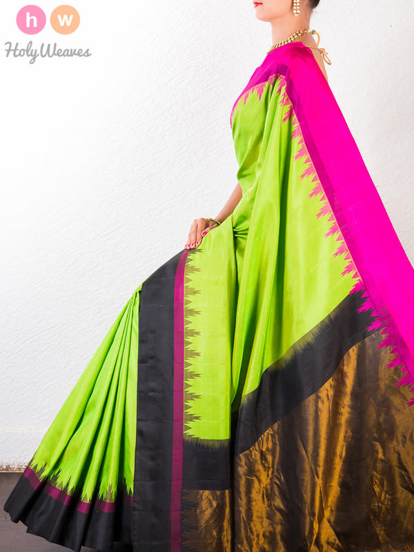 Green Katan (कतान) Silk Brocade Handwoven Gadwal Saree- HolyWeaves
