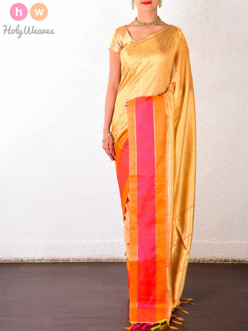 Beige Raw Silk Brocade Handwoven Saree - HolyWeaves