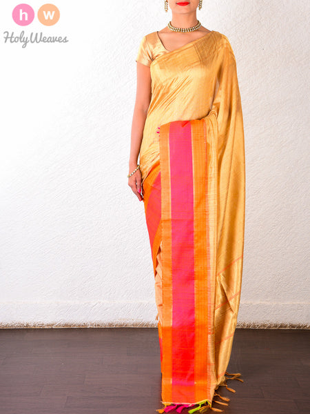 Beige Raw Silk Brocade Handwoven Saree