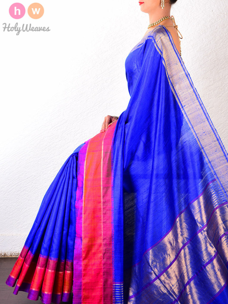 Blue Raw Silk Brocade Handwoven Saree