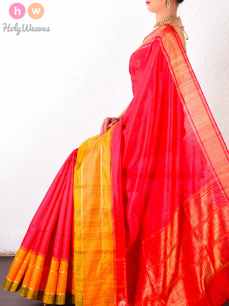 Red Raw Silk Brocade Handwoven Saree - HolyWeaves