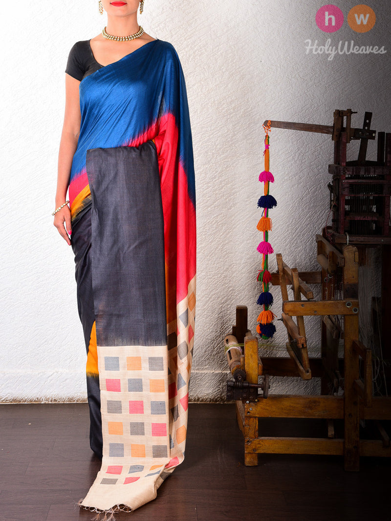 Multi-color Raw Silk Kadhuan Brocade Handwoven Saree - HolyWeaves