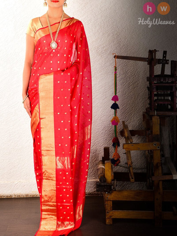 Red Kadhuan (कढ़ुआँ) Brocade Handwoven Pure Cotton Silk Saree- HolyWeaves