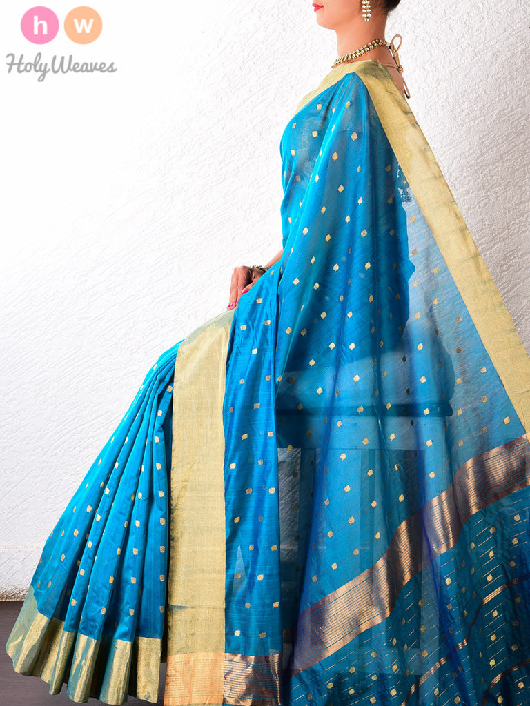 Blue Chanderi Cotton Silk Kadhuan Brocade Handwoven Saree