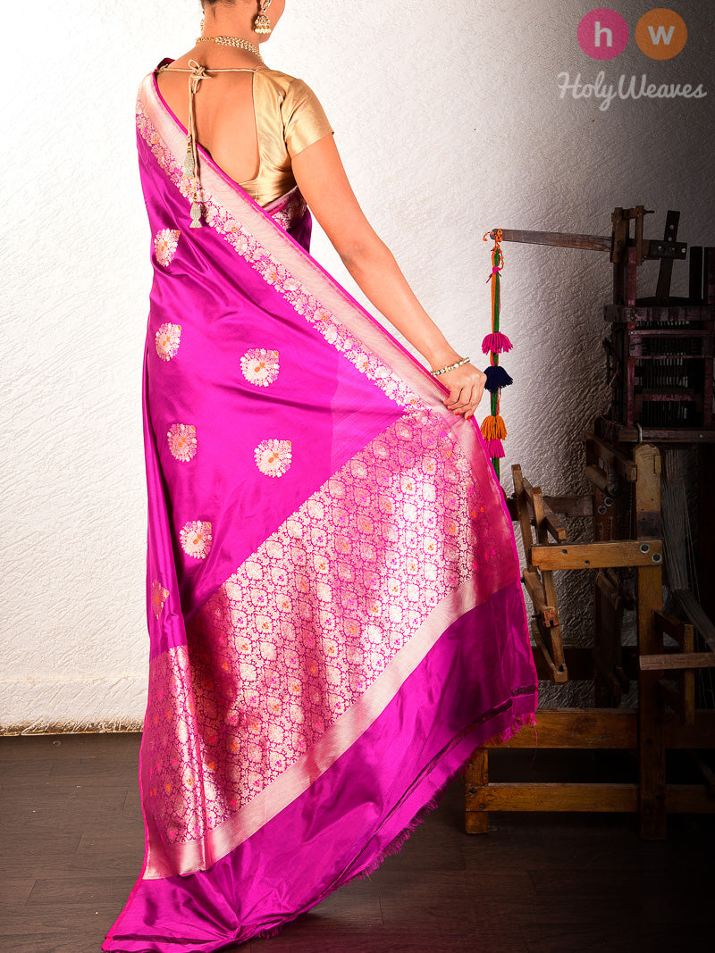 Purple Banarasi Kadhuan Brocade Handwoven Katan Silk Saree - HolyWeaves